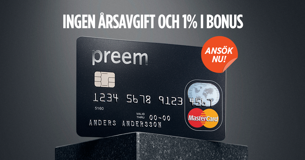 Preem MasterCard: 1 % bonus på allt i andra butiker