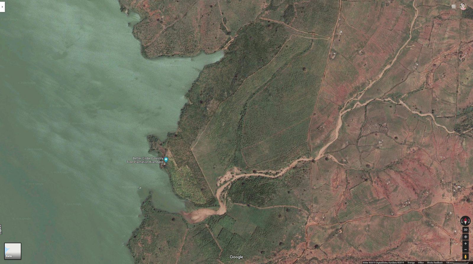 Bilden visar en del av Kiamber-plantagen som ligger vid Kiambere-dammen i 7Forks-området i länet Kitui/Mwingi nordöst om Nairobi.