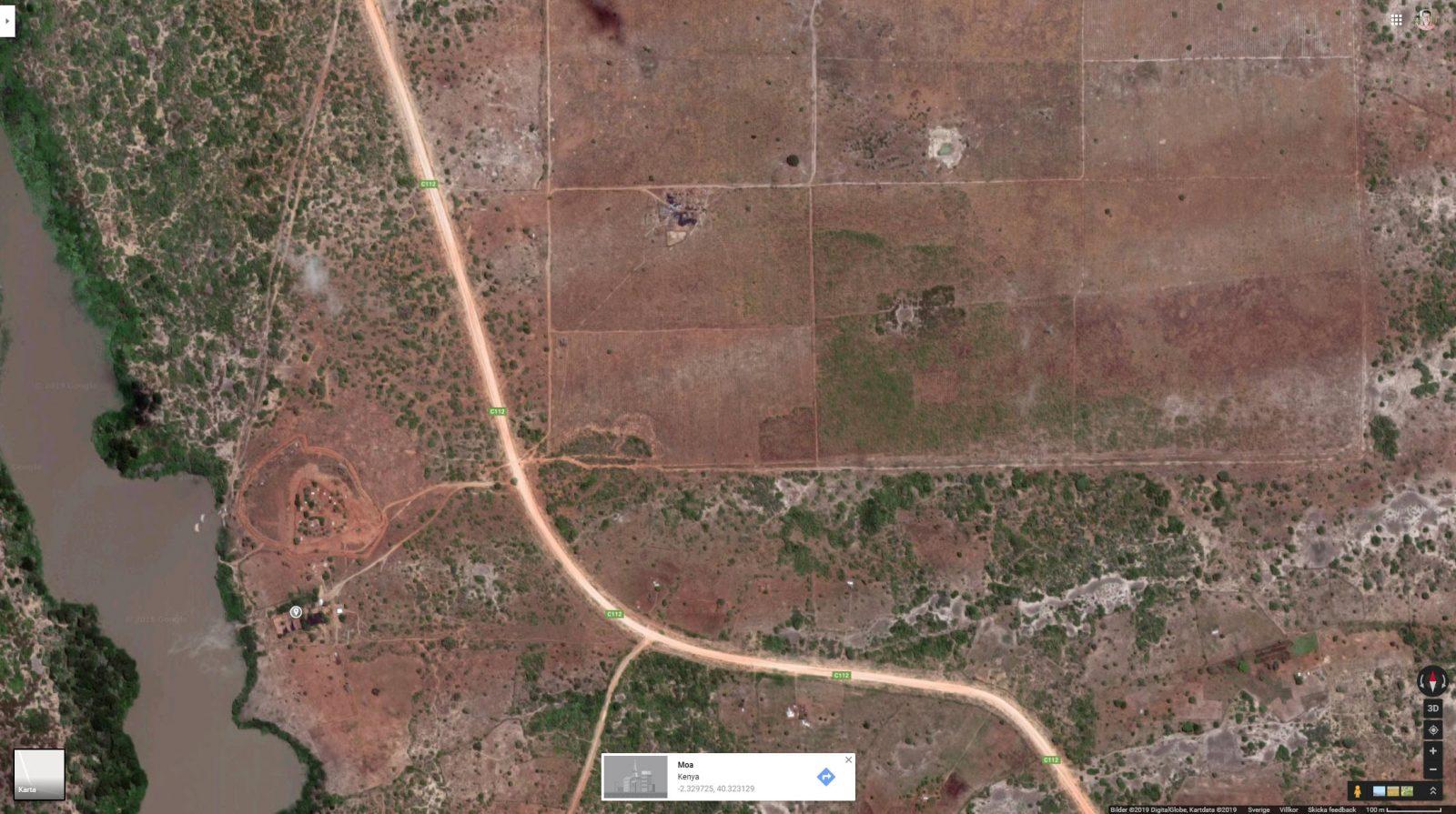 Satellitbild från Google Maps som visar några av de 30 000 hektar mark som Better Globe har till förfogande i Nyongoro, i länet Lamu i närheten av Somalias gräns.