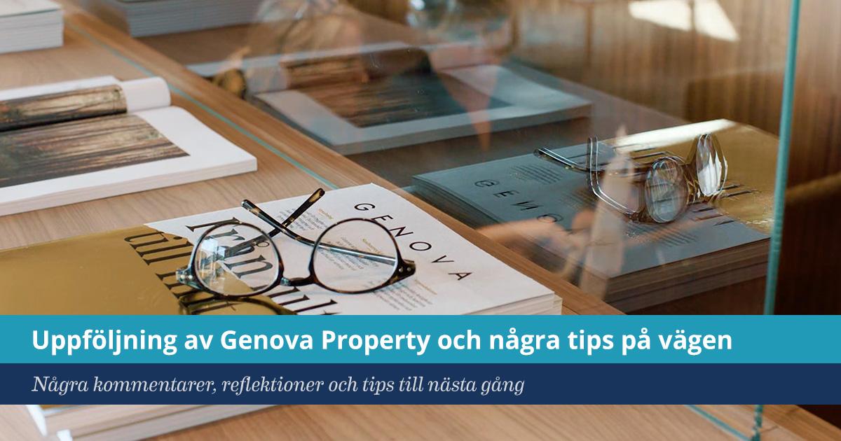Uppföljning Genova Property och några tips på vägen